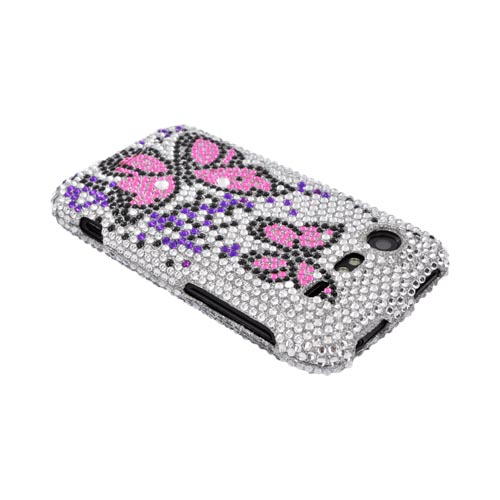 HTC Droid Incredible 2 Bling Hard Case - Pink Butterflies & Purple on Silver Gems