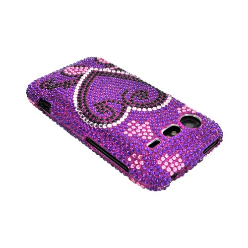 HTC Droid Incredible 2 Bling Hard Case - Silver/ Black Heart on Purple Gems