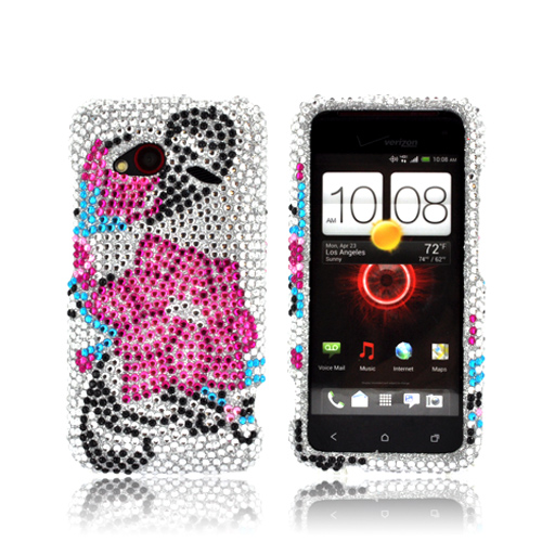 HTC Droid Incredible 4G LTE Bling Hard Case - Pink Lily on Silver Gems