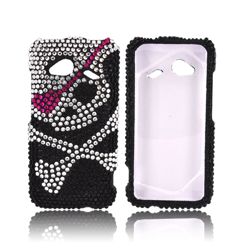 HTC Droid Incredible 4G LTE Bling Hard Case - Silver Skull w/ Pink Eyepatch on Black Gems