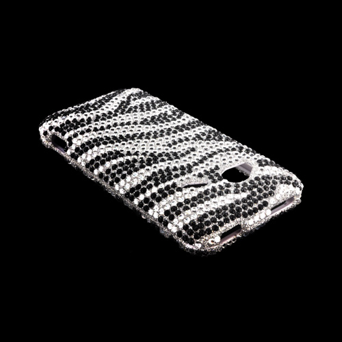 HTC Droid Incredible 4G LTE Bling Hard Case - Silver/ Black Zebra