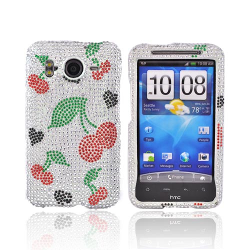 HTC Inspire 4G Bling Hard Case - Red Cherries on Silver