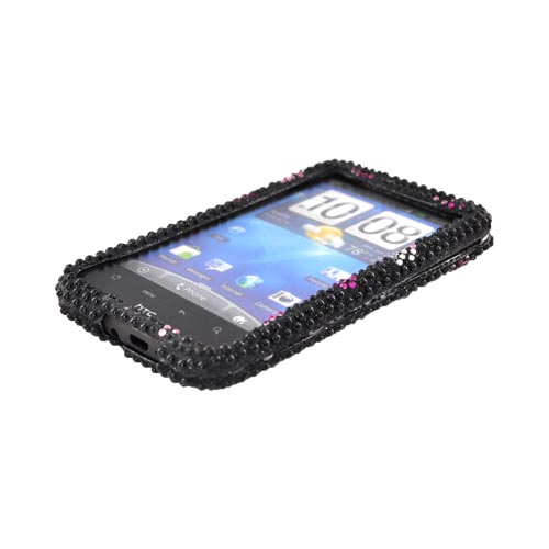 HTC Inspire 4G Bling Hard Case - Pink Flowers on Black