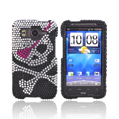 HTC Inspire 4G Bling Hard Case - Silver Skull With Hot Pink Eye Patch on Black Gems