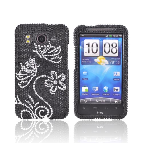 HTC Inspire 4G Bling Hard Case - Silver Butterflies on Black