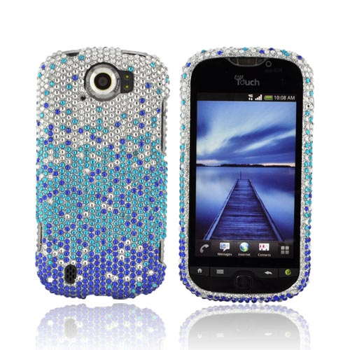HTC Mytouch 4G Slide Bling Hard Case - Blue/ Turquoise Waterfall on Silver Gems