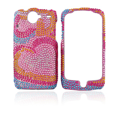 Google Nexus One Bling Hard Case - Rainbow Hearts on Pink