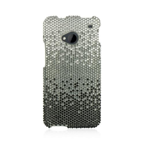 Black/ Gray Waterfall on Silver Gems Bling Hard Case for HTC One