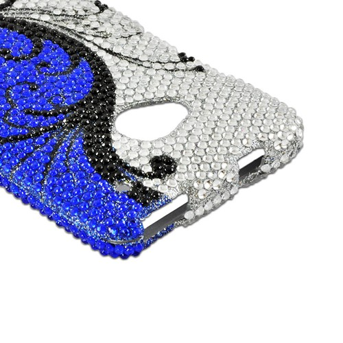 Black Vines on Silver/ Blue Gems Bling Hard Case  for HTC One
