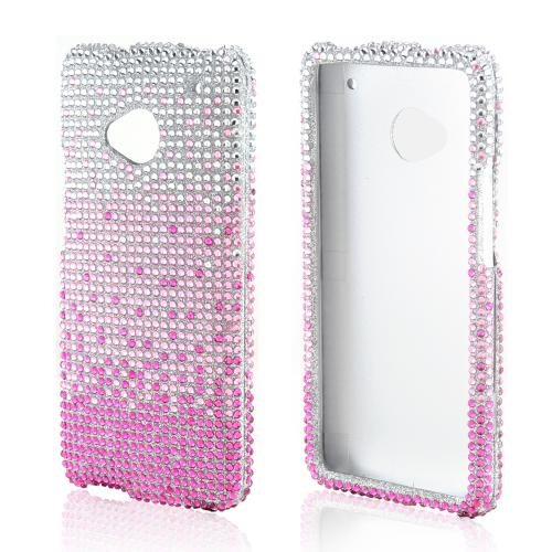 Baby Pink/ Magenta Waterfall on Silver Gems Bling Hard Case for HTC One