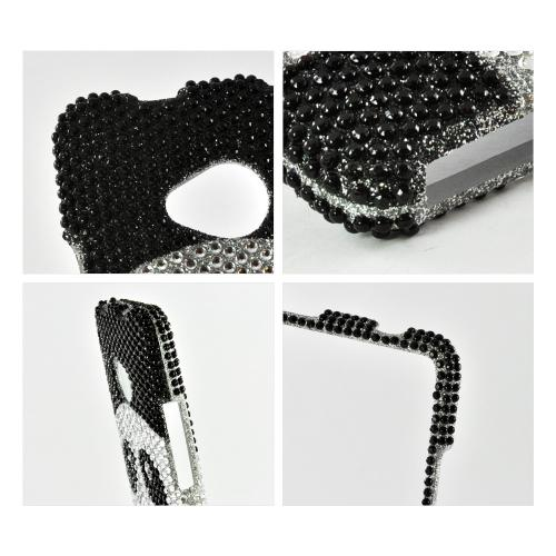 Black/Silver Panda Bling Hard Case for HTC One