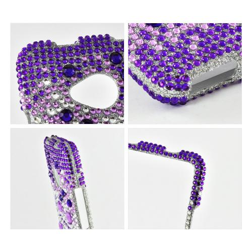 Purple Hearts on Light Purple/ Silver Gems Bling Hard Case for HTC One