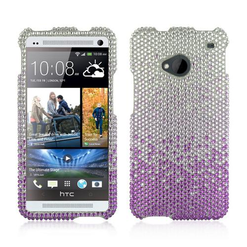 Purple/ Lavender Waterfall on Silver Gems Bling Hard Case for HTC One