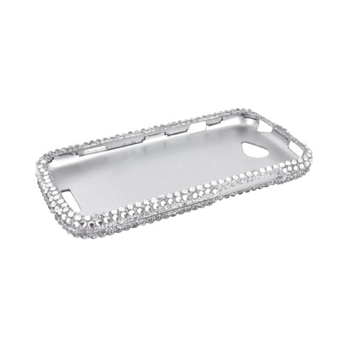 HTC One S Bling Hard Case - Silver Gems