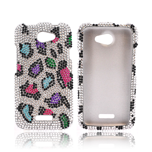 HTC One X Bling Hard Case - Colorful Leopard on Silver Gems