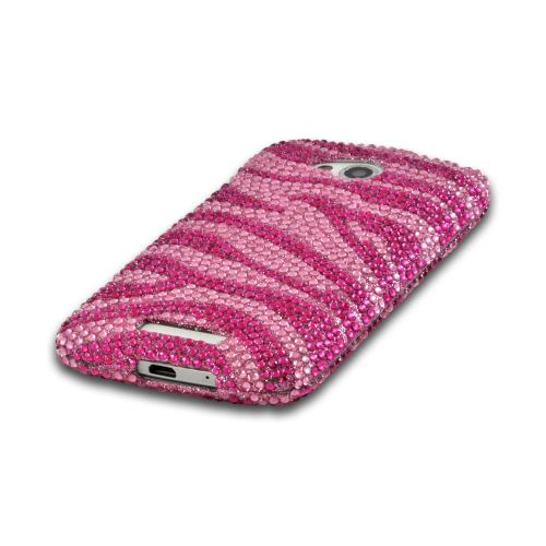 Pink/ Baby Pink Zebra Bling Hard Case for HTC One VX