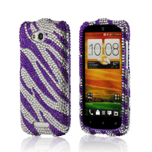 Purple/ Silver Zebra Bling Hard Case for HTC One VX