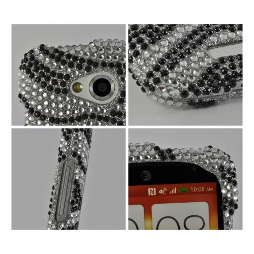 Black/ Silver Zebra Bling Hard Case for HTC One VX