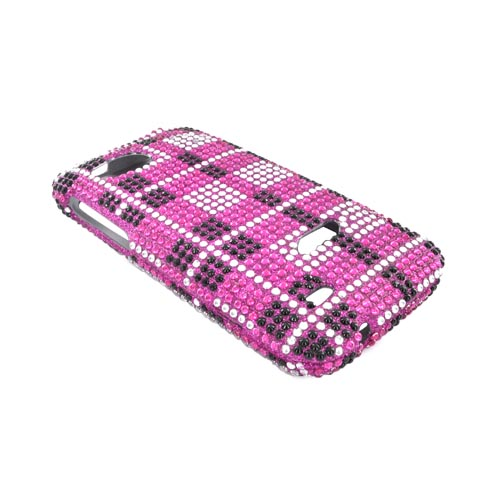HTC Rezound Bling Hard Case - Black/ Silver Plaid on Hot Pink Gems
