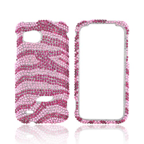 HTC Rezound Bling Hard Case - Hot Pink/ Baby Pink Zebra Gems