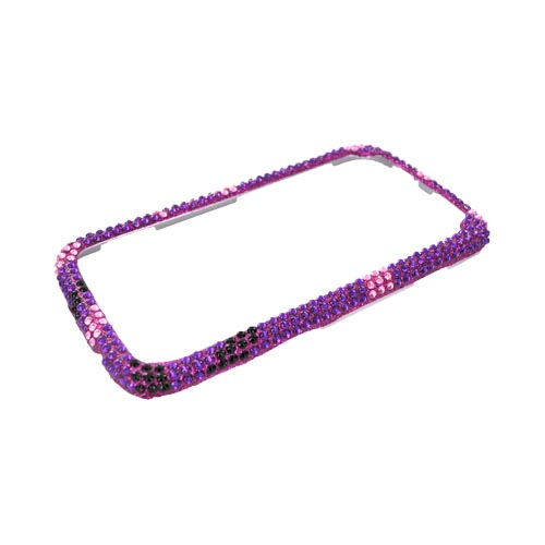 HTC Sensation 4G Bling Hard Case - Silver/ Black Heart on Purple Gems