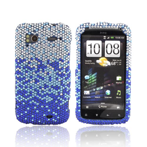HTC Sensation 4G Bling Hard Case - Blue/ Turquoise Waterfall on Silver Gems