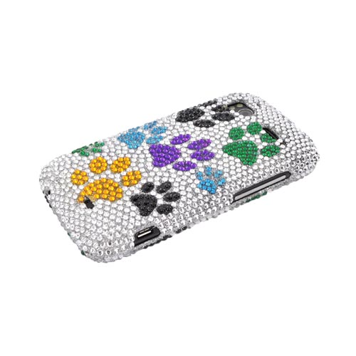 HTC Sensation 4G Bling Hard Case - Multi Color Paw Prints on Silver Gems
