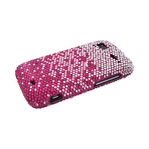 HTC Sensation 4G Bling Hard Case - Magenta/ Baby Pink Waterfall on Silver Gems