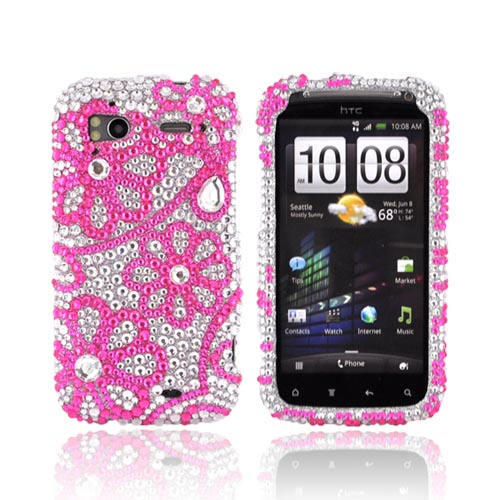 HTC Sensation 4G Bling Hard Case - Pink Lace Flowers on Silver Gems