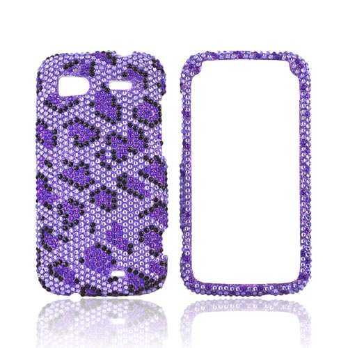 HTC Sensation 4G Bling Hard Case - Purple/ Black Leopard on Light Purple Gems