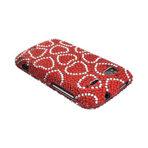 HTC Sensation 4G Bling Hard Case - Silver Hearts on Red Gems