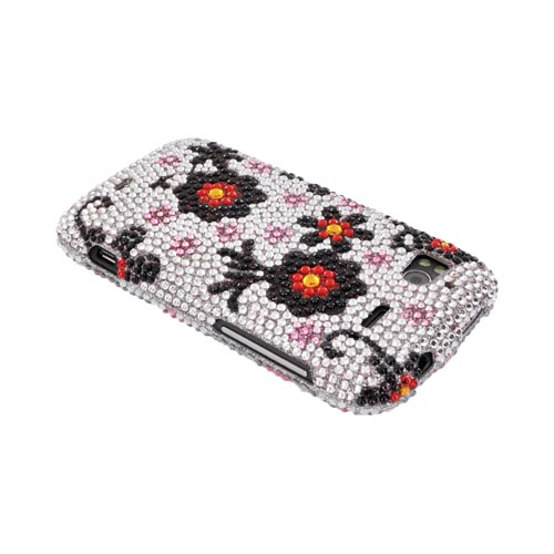 HTC Sensation 4G Bling Hard Case - Black/ Red Daisies on Silver Gems
