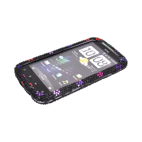 HTC Sensation 4G Bling Hard Case - Rainbow Dots on Black Gems