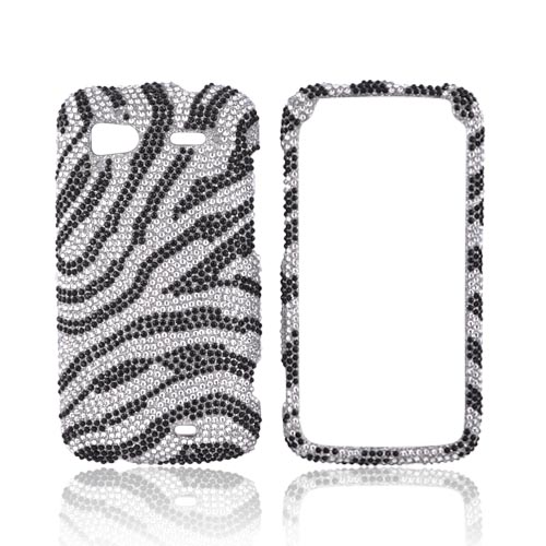 HTC Sensation 4G Bling Hard Case - Black Zebra on Silver Gems