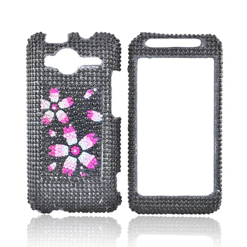 HTC EVO Shift 4G Bling Hard Case - Pink Blossom on Black