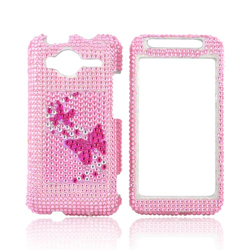 HTC EVO Shift 4G Bling Hard Case - Butterflies on Pink