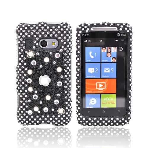 HTC Surround T8788 Bling Hard Case - Black Flower