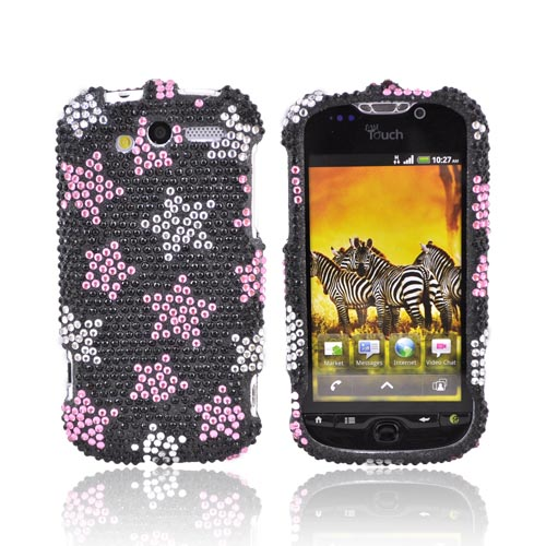 T-Mobile MyTouch 4G Bling Hard Case - Pink/Silver Stars on Black