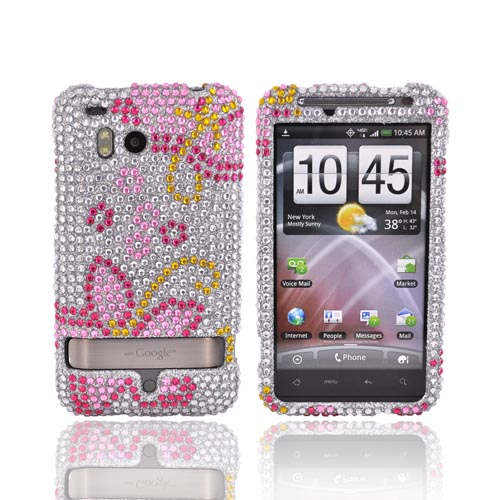 HTC Thunderbolt Bling Hard Case - Pink Flowers on Silver