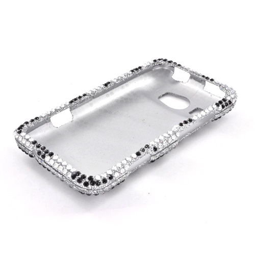 HTC Titan 2 Bling Hard Case - Black/ Silver Zebra