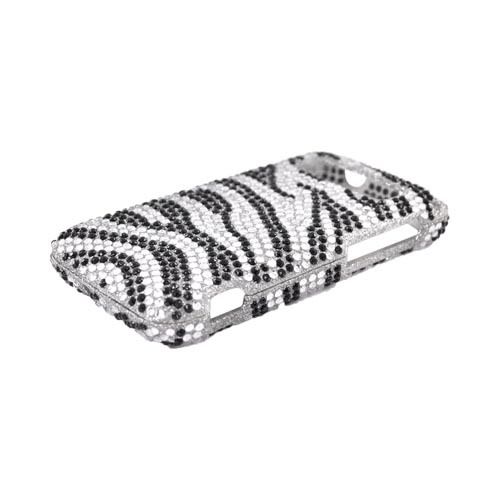 HTC Trophy Bling Hard Case w/ Crowbar - Black Zebra on Silver