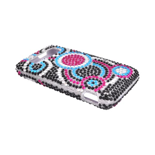 HTC Trophy Bling Hard Case w/ Crowbar - Pink/Blue/Black Bubbles