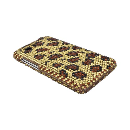 HTC Vivid Bling Hard Case - Brown Leopard on Gold Gems