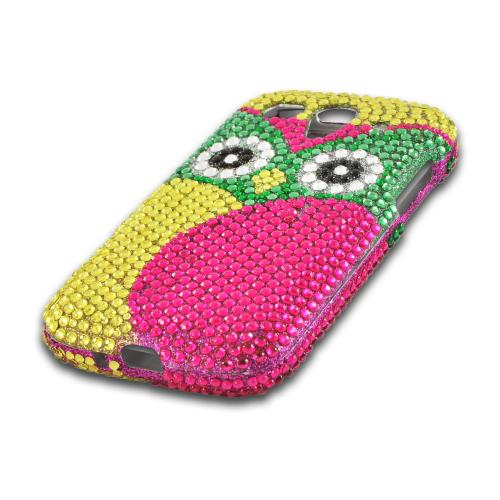 Green/ Hot Pink/ Yellow Owl Bling Hard Case for T-Mobile Huawei myTouch 2