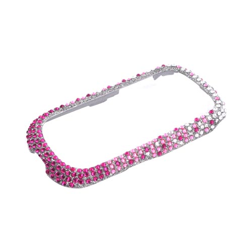 Huawei M835 Bling Hard Case - Magenta/ Baby Pink Waterfall on Silver Gems
