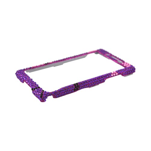 Huawei Ideos X6 Bling Hard Case - Silver/ Black Heart on Purple