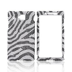 Huawei Ideos X6 Bling Hard Case - Black Zebra on Silver