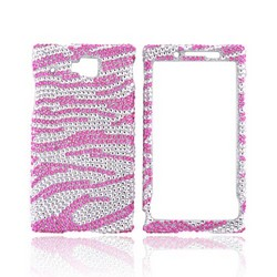 Huawei Ideos X6 Bling Hard Case - Pink Zebra on Silver