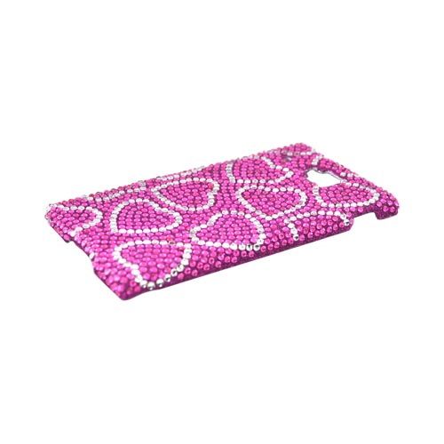 Huawei Ideos X6 Bling Hard Case - Silver Hearts on Pink