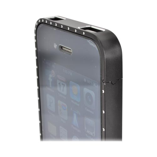 AT&T/ Verizon Apple iPhone 4, iPhone 4S Aluminum Bumper w/ Bling - Black w/ Clear Gems